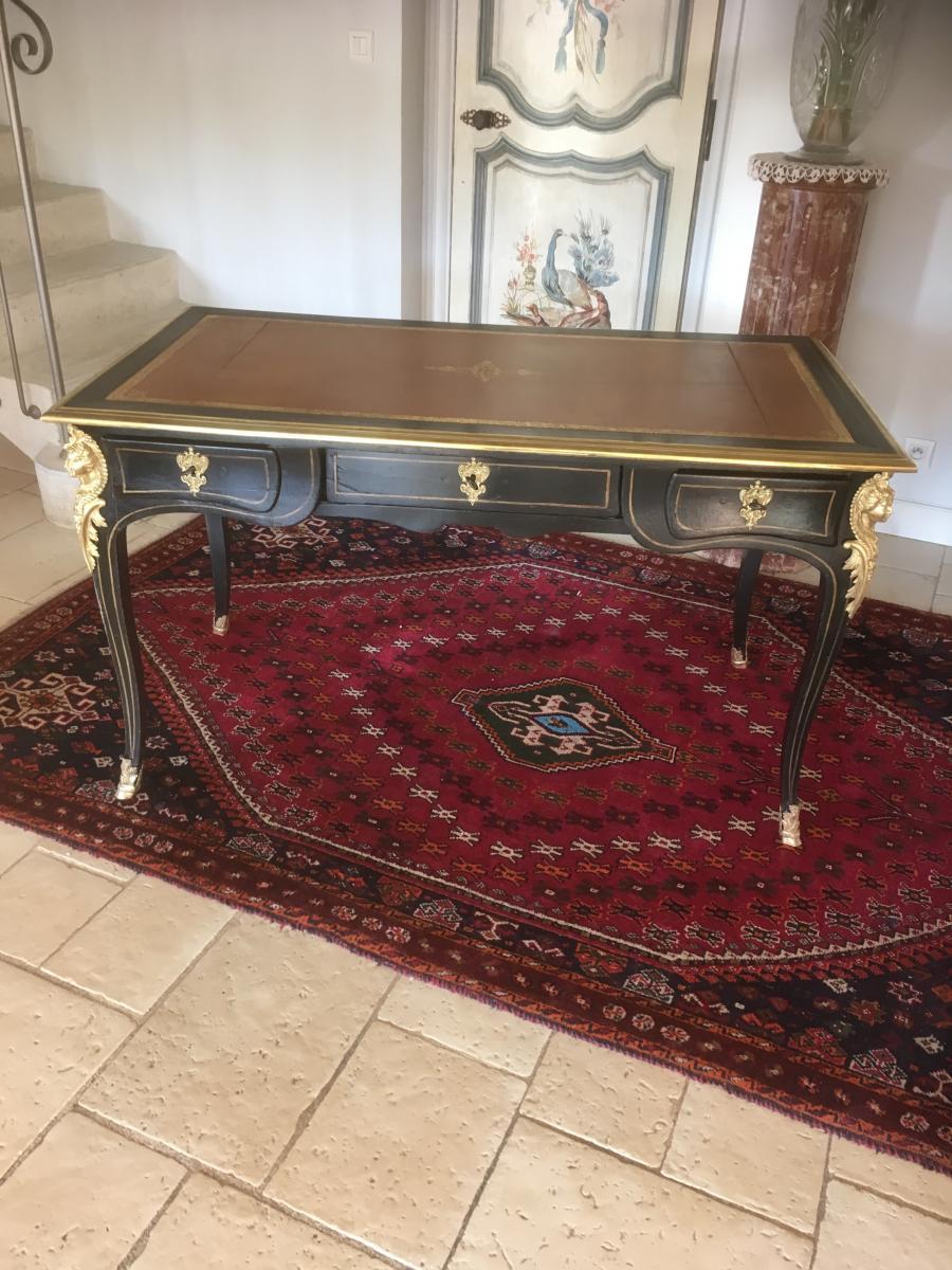 Bureau Plat Noir De Style Louis XV Bronzes à l'Espagnolette
