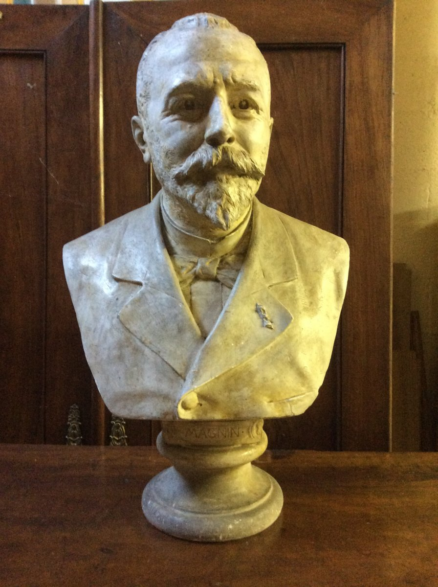 Important 19th Plaster Bust Signed Max Bourgeois