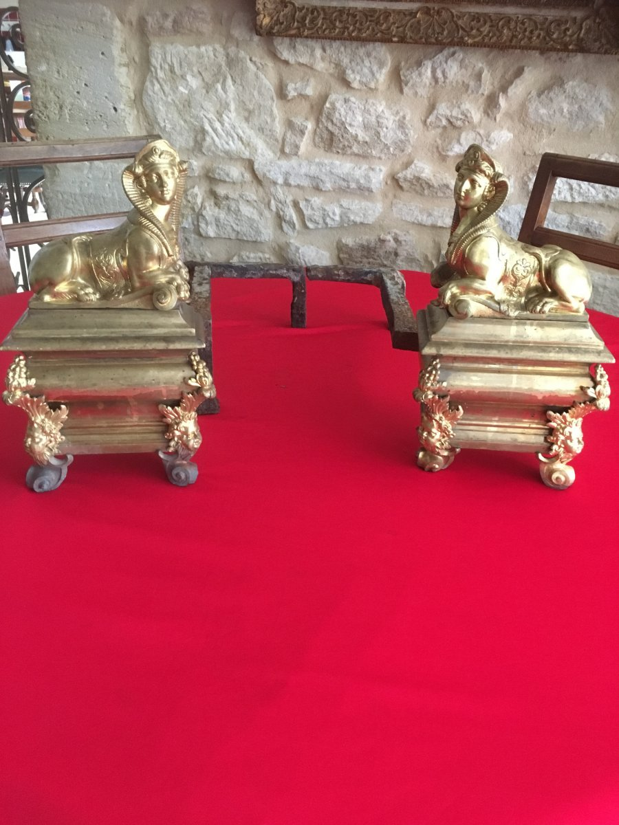 """Pair Of Andirons """"return From Egypt"""" In Gilded Bronze"""