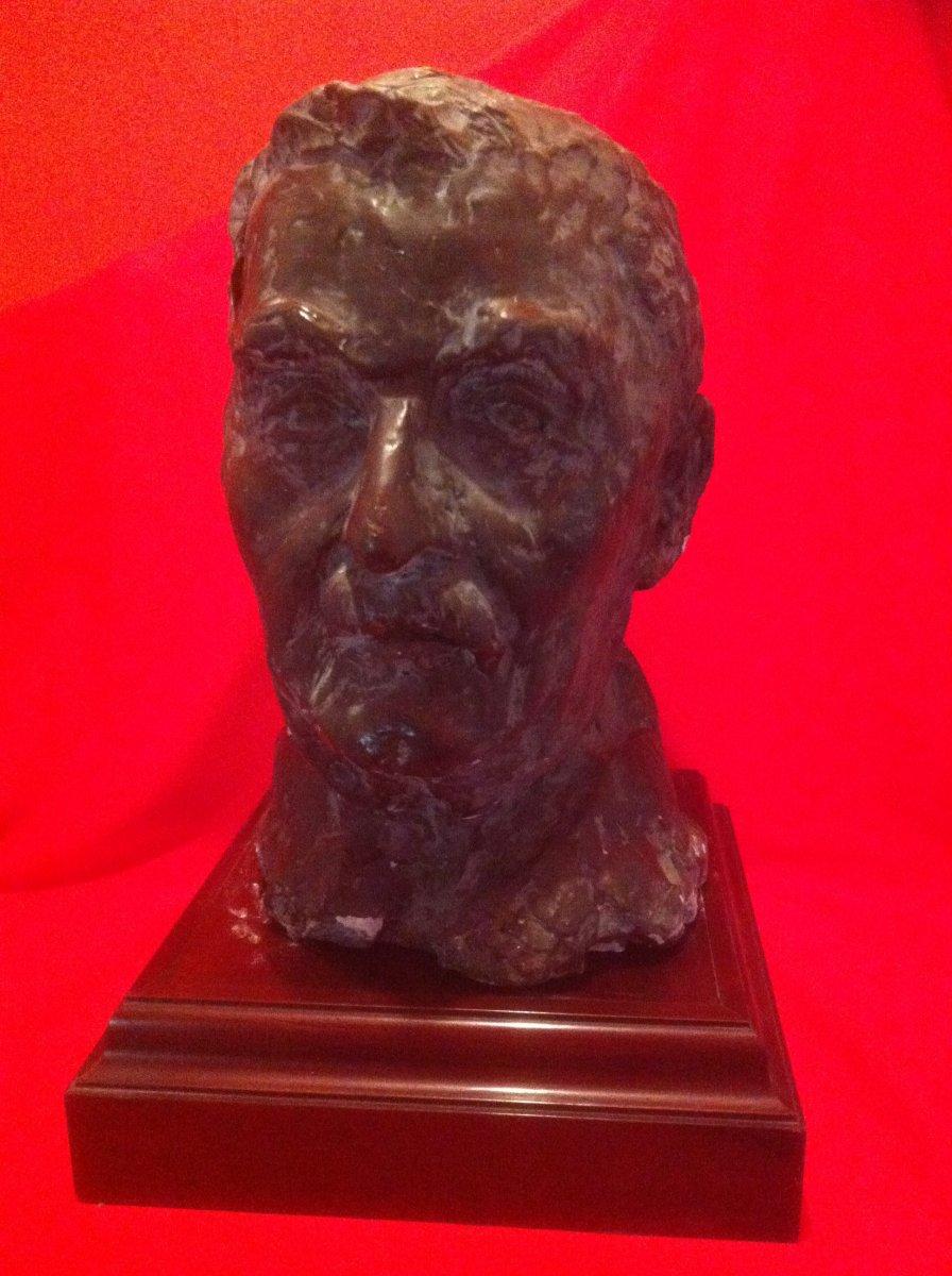 Sculpture Tête d'Homme Moustachu