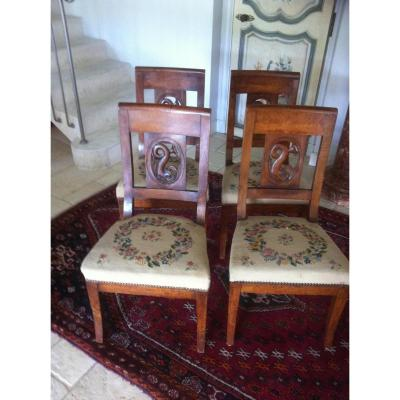 """4 Chairs Suite Directoire """"aux Dauphins"""" In Walnut"""