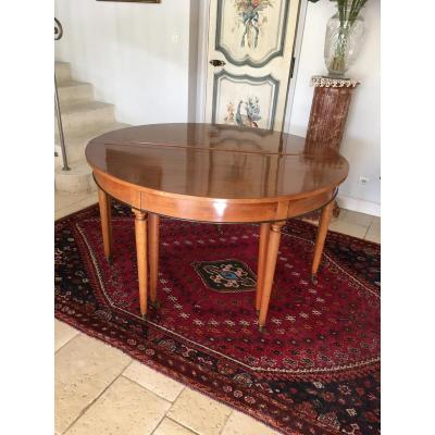 Louis XVI Table Half Moon Walnut Allonges.