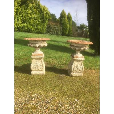 Pair Of Medicis Vases Cast On Stone Pedestals Nineteenth