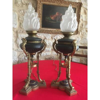 Pair Of Return From Egypt Oil Lamps In Patinated And Gilded Bronze