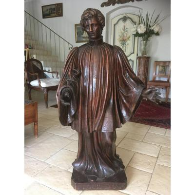 Large XVIIIth Statue Of Saint Louis De Gonzagues In Carved Wood