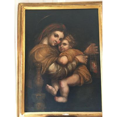 Important Oil On Canvas Painting: Virgin And Child XVII