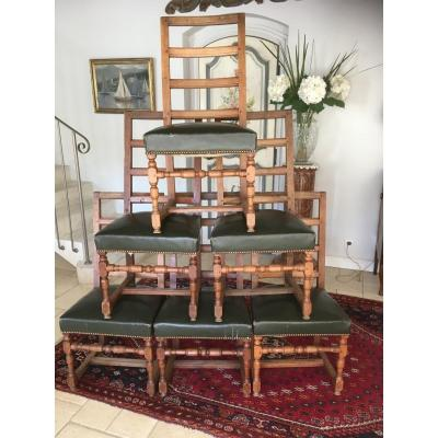 Suite Of 6 Louis XIV Chairs In Walnut