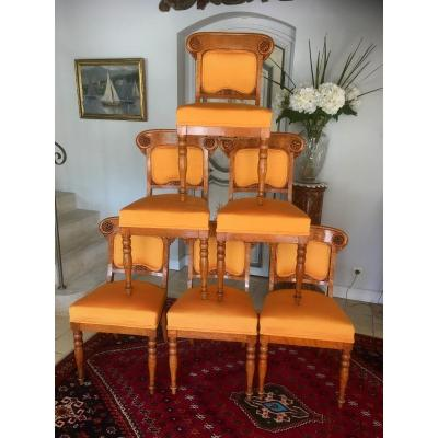Rare Suite Of 6 Charles X Chairs In Speckled Maple