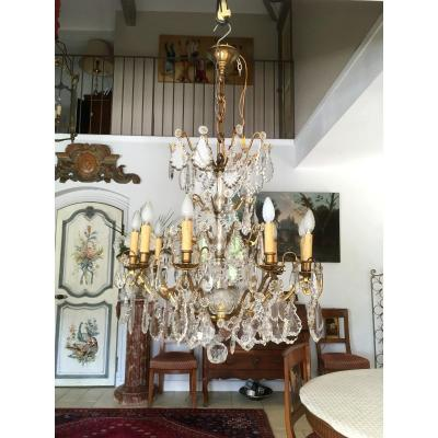 Crystal Plates Cage Chandelier