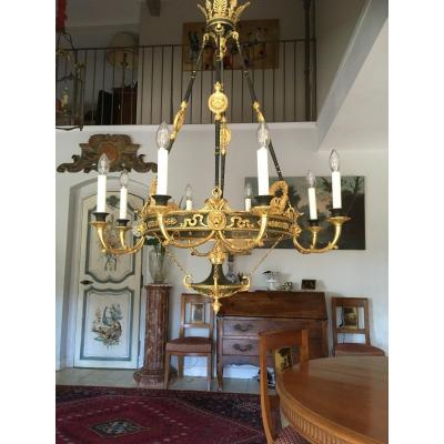Very Beautiful Empire Chandelier In Patinated And Gilded Bronze