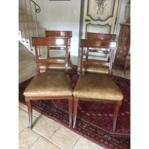 Suite Of 4 Mahogany Chairs From Cuba
