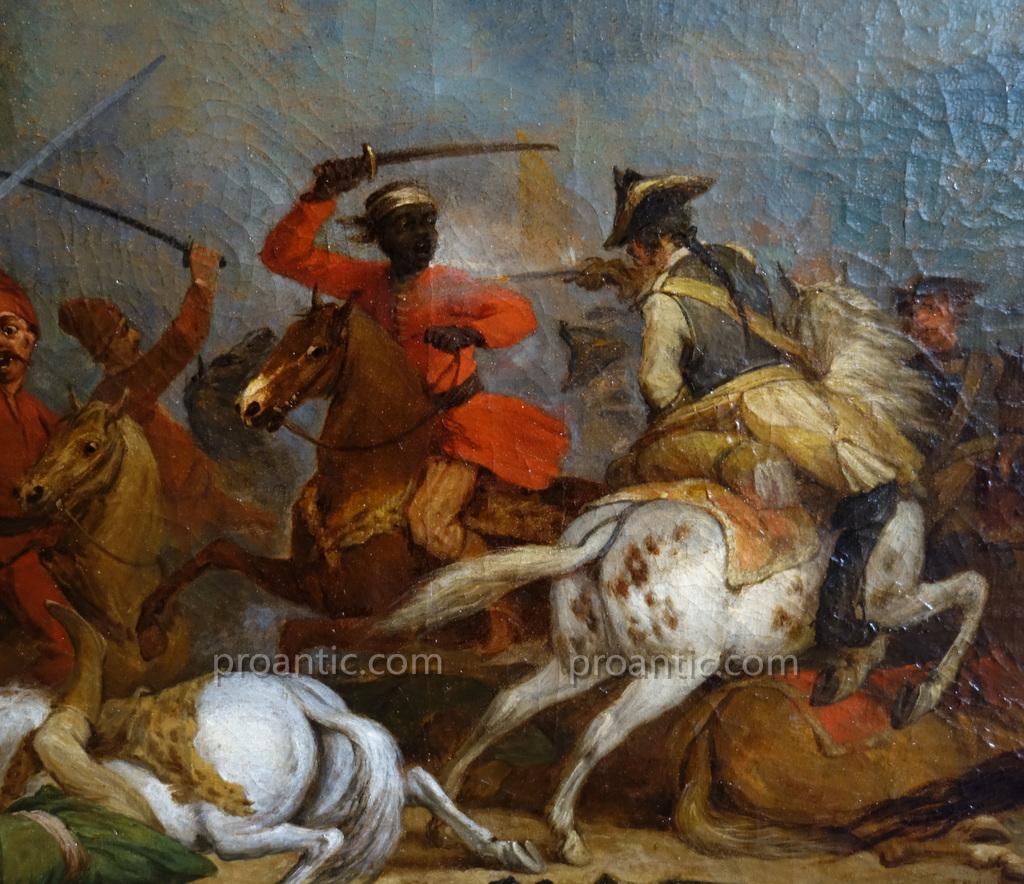 Paire De Grandes Batailles XVIIIème Siècle, Hst