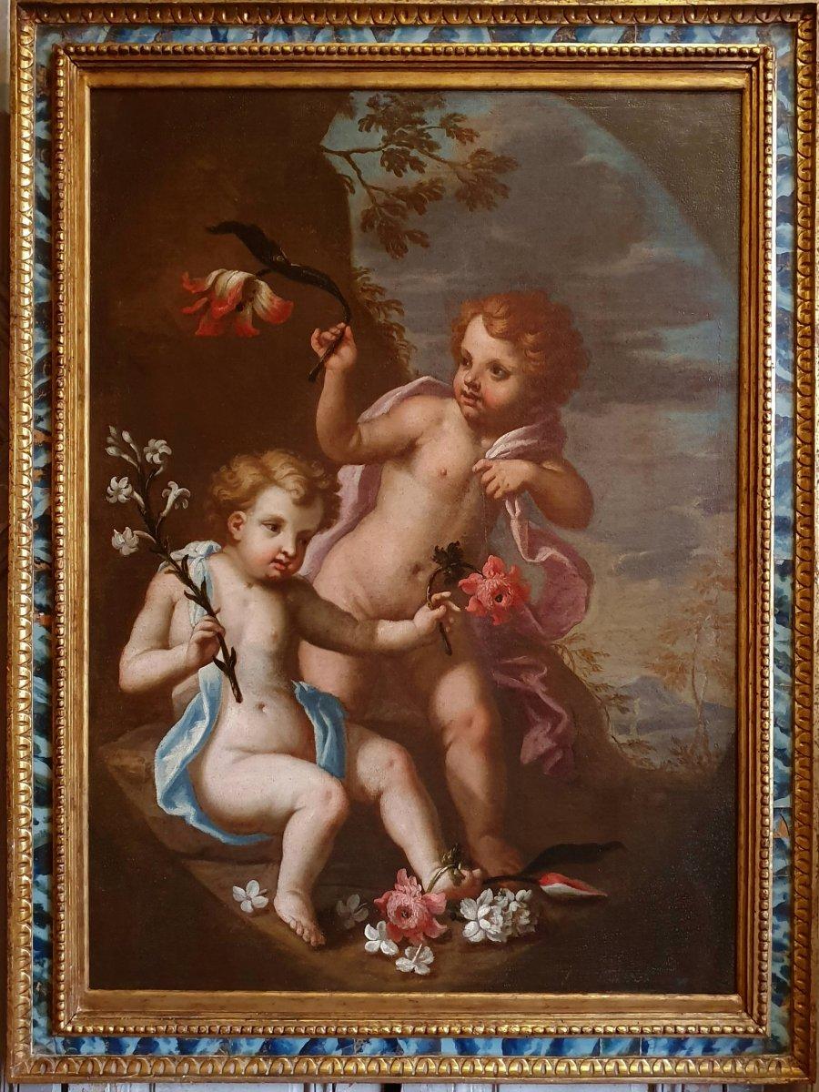 """Huile Sur Toile """"Puttis"""" Epoque Louis XIV"""