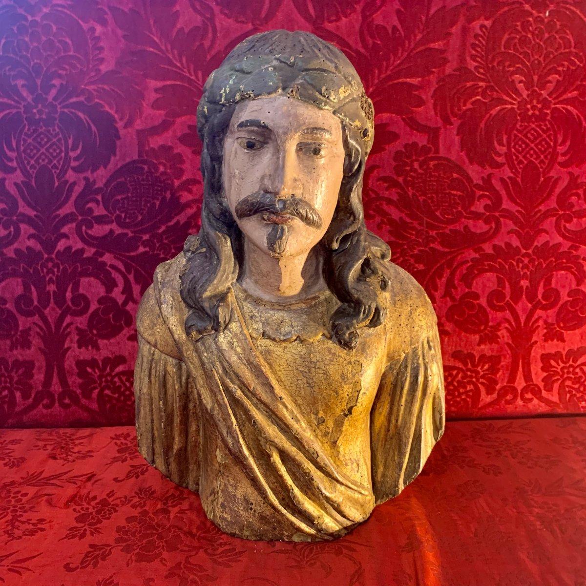 Grand Buste En Bois Doré Espagne XVIIe Siècle