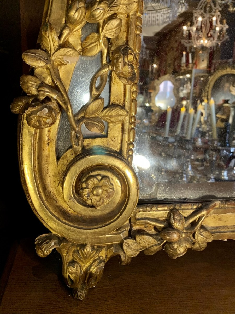 Rare Grand Miroir Louis XVI En Bois Doré-photo-2