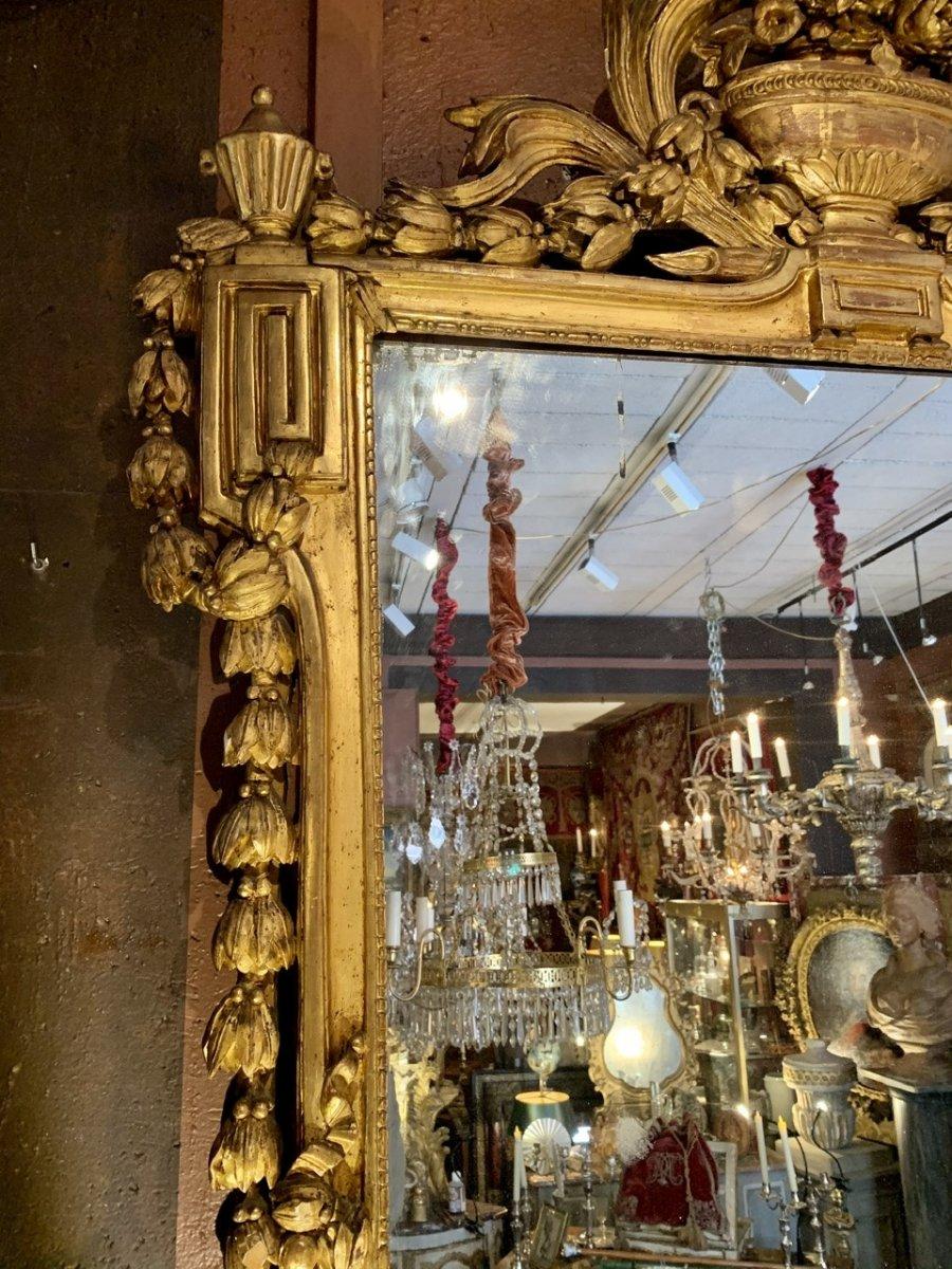 Rare Grand Miroir Louis XVI En Bois Doré-photo-3