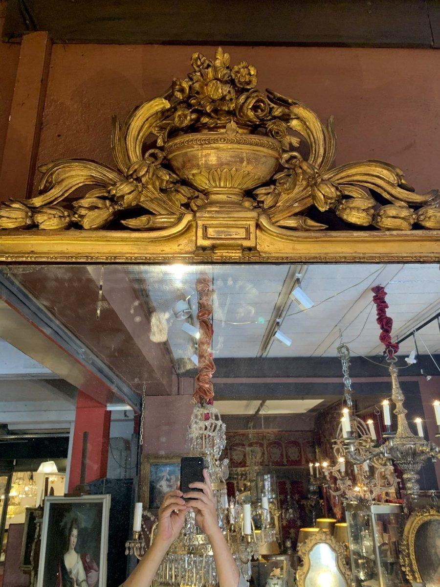 Rare Grand Miroir Louis XVI En Bois Doré-photo-4