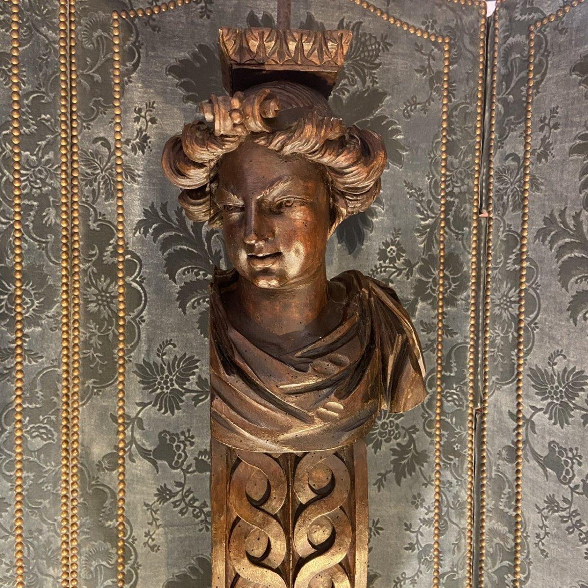 Paire De Figures En Noyer époque Louis XIV-photo-3