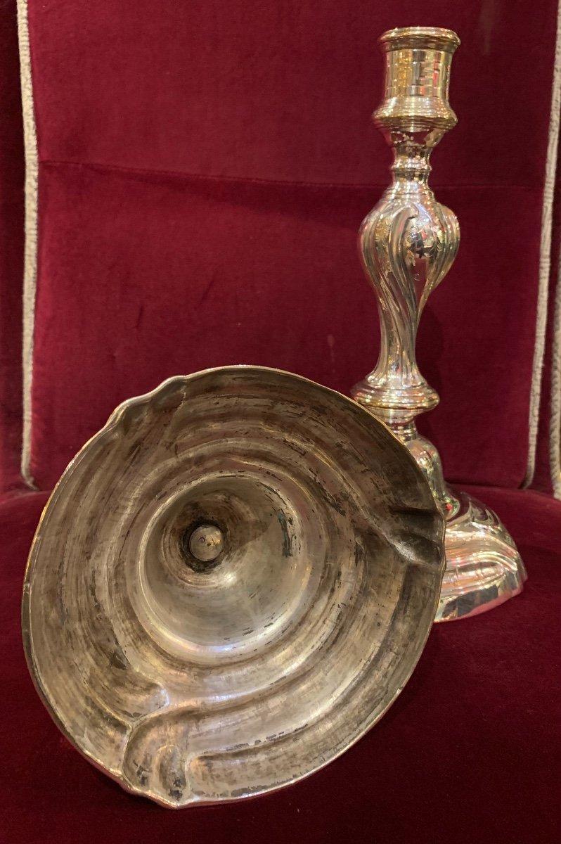Bougeoirs Armoriés époque Louis XV En Métal Argenté-photo-1