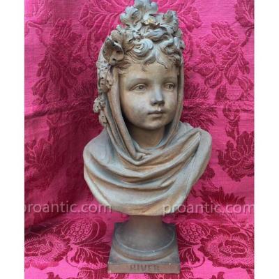 Buste d'Enfant En Terre Cuite XIXe