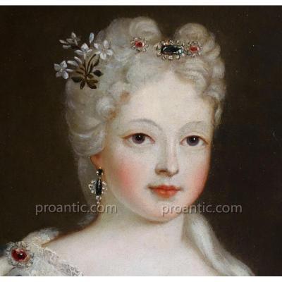 Portrait De Marie Anne Victoire de Bourbon Epoque XVIIIème Siècle