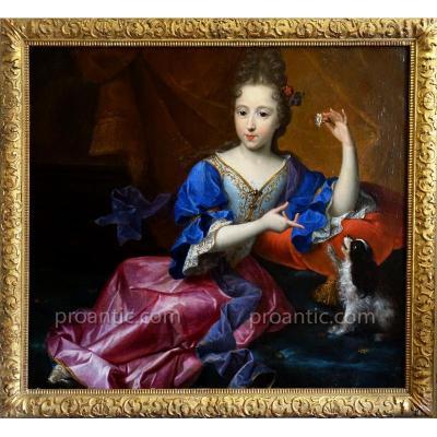 Portrait d'Une Jeune Princesse Epoque XVIIème Siècle