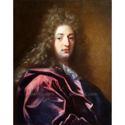 Portrait d'Un Jeune Homme en Perruque Epoque Louis XIV