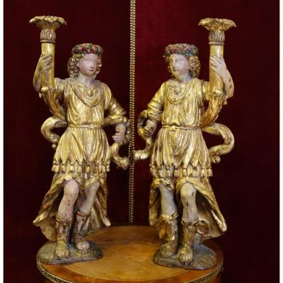 Pair Of Great Candles Gilded Wood Louis XIV Period