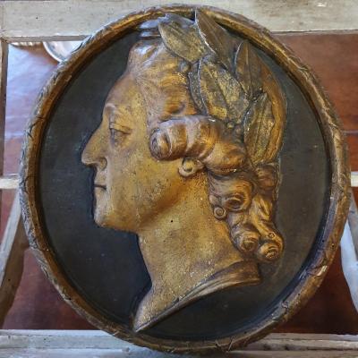 Rare Médaillon Figurant Louis XV Epoque XVIIIème Siècle