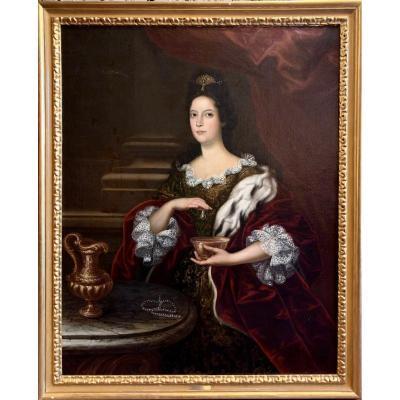 Grand Portrait De Femme à L'hermine Début XVIIIe