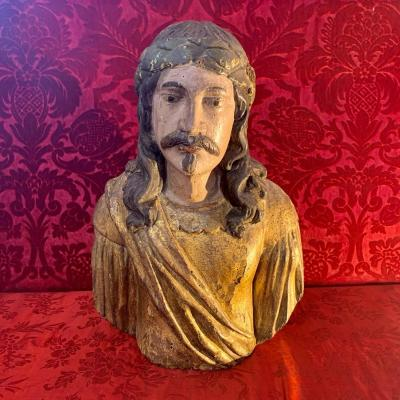 Large Bust In Golden Wood Spain XVIIth Century