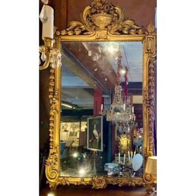 Rare Grand Miroir Louis XVI En Bois Doré