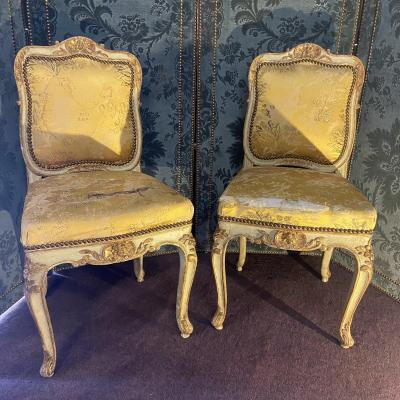Pair Of Louis XV Period Music Lounge Chairs