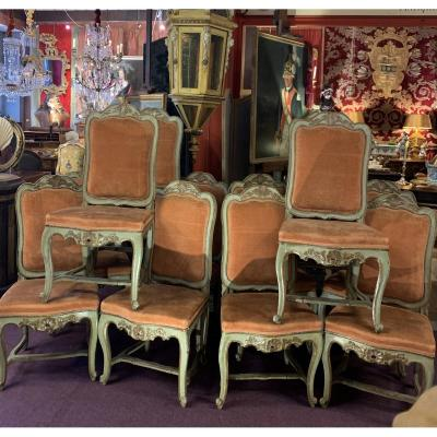 Twelve 18th Century Lacquered Chairs