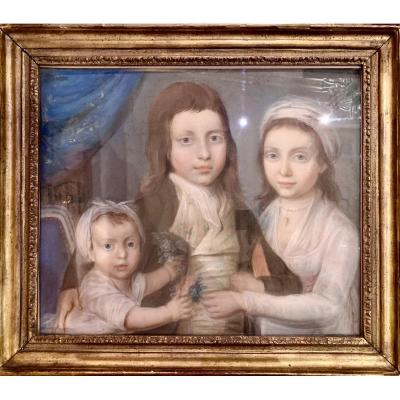 Portrait De Famille Fin XVIIIe