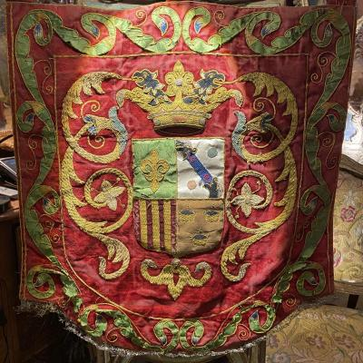 18th Century Embroidered Coat Of Arms