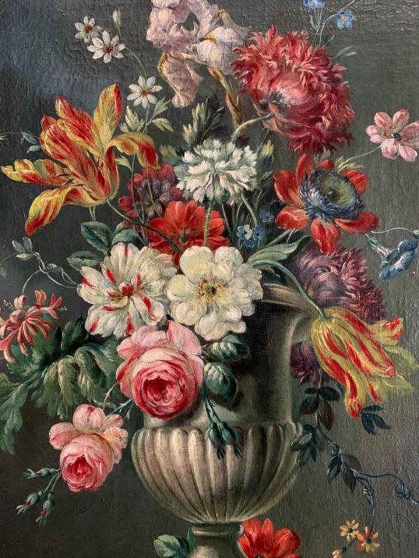 Bouquet De Fleurs Huile Sur Toile Fin XVIIIe-photo-2