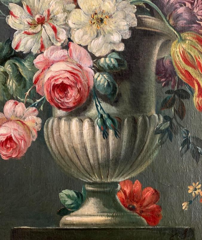 Bouquet De Fleurs Huile Sur Toile Fin XVIIIe-photo-3