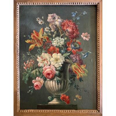 Bouquet De Fleurs Huile Sur Toile Fin XVIIIe