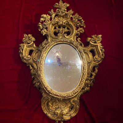 Beautiful Mirror In Carved Wood Louis XV Period