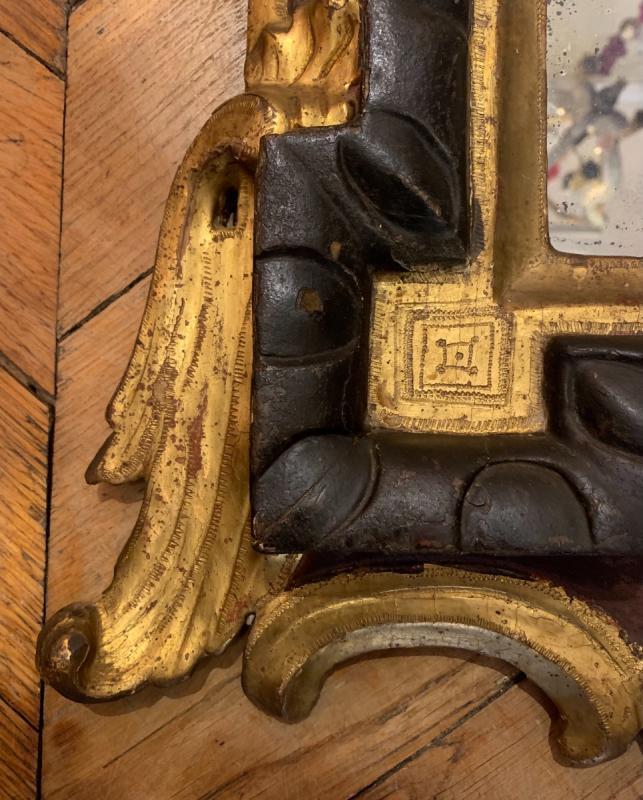 Rare Miroir En Bois Laqué Et Doré Italie XVIIIe-photo-2