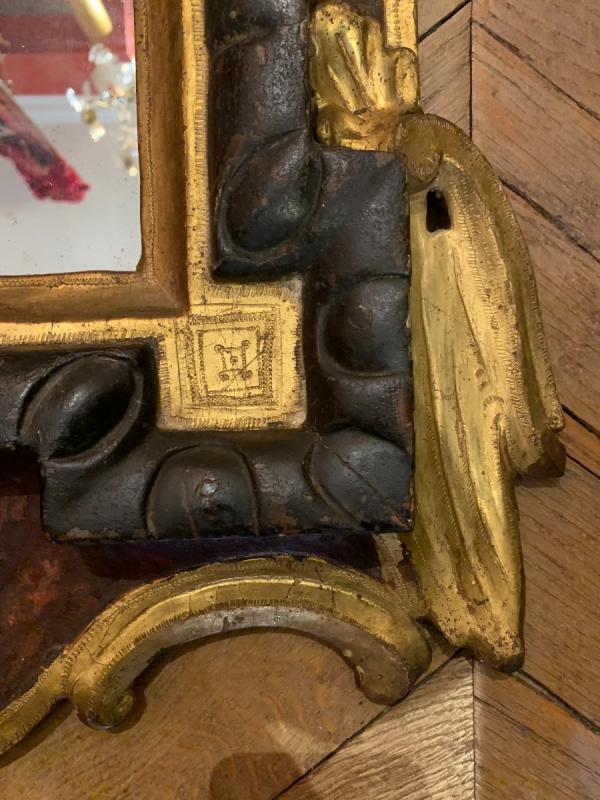 Rare Miroir En Bois Laqué Et Doré Italie XVIIIe-photo-3