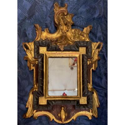 Rare Mirror In Lacquered And Gilded Wood Italy Eighteenth