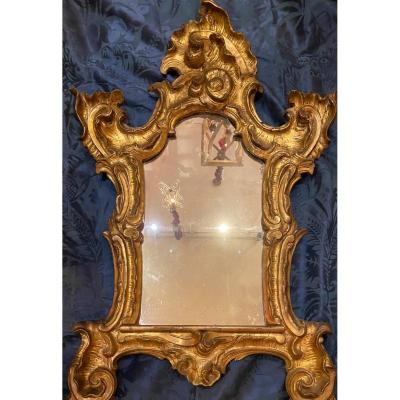 Glace En Bois Doré Baroque Italie XVIIIe