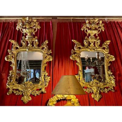 Rare Paire De Miroirs Provençaux XVIIIe