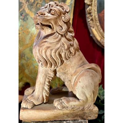 Rare Paire De Lions - Terre Cuite XVIIIe