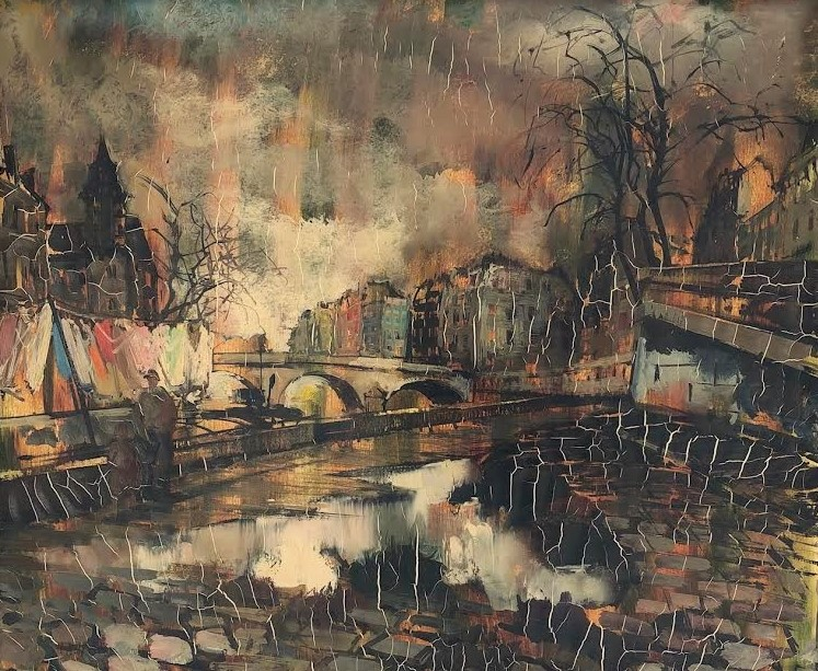 """O. Foss, Oil On Canvas, """"the Banks Of The Seine In Paris"""", XXth"""