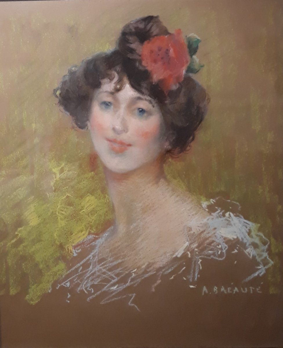 Portrait d'une Jeune Femme - A. Bréauté, Pastel