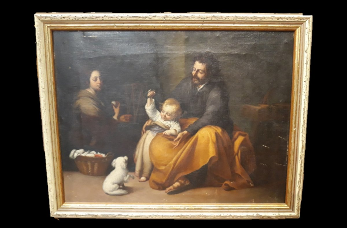After Murillo - Holy Family - Oil On Canvas-photo-2