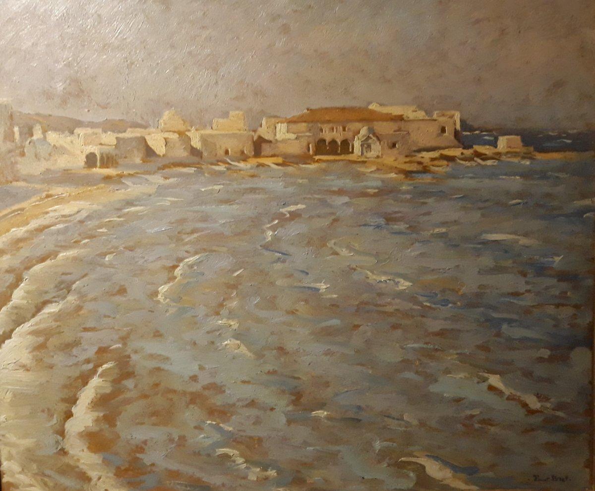 Paul Bret - Le Port De Mykonos Par Grand Vent - Huile Sur Panneau